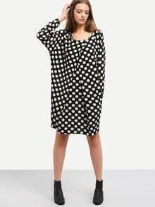 Black White Polka Dot Print Pockets Dress