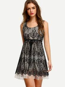 Black Sleeveless Tie Waist Lace Dress
