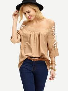 Dark Apricot Off The Shoulder Lace Up Blouse