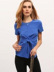 Blue Short Sleeve Knot Zipper Blouse