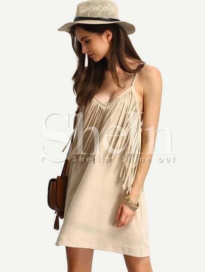 Apricot Spaghetti Strap Tassel Dress