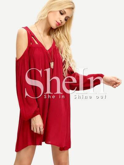 Burgundy Cold Shoulder Long Sleeve Pleated Dress