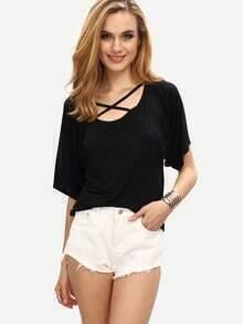Crisscross Neck T-shirt - Black