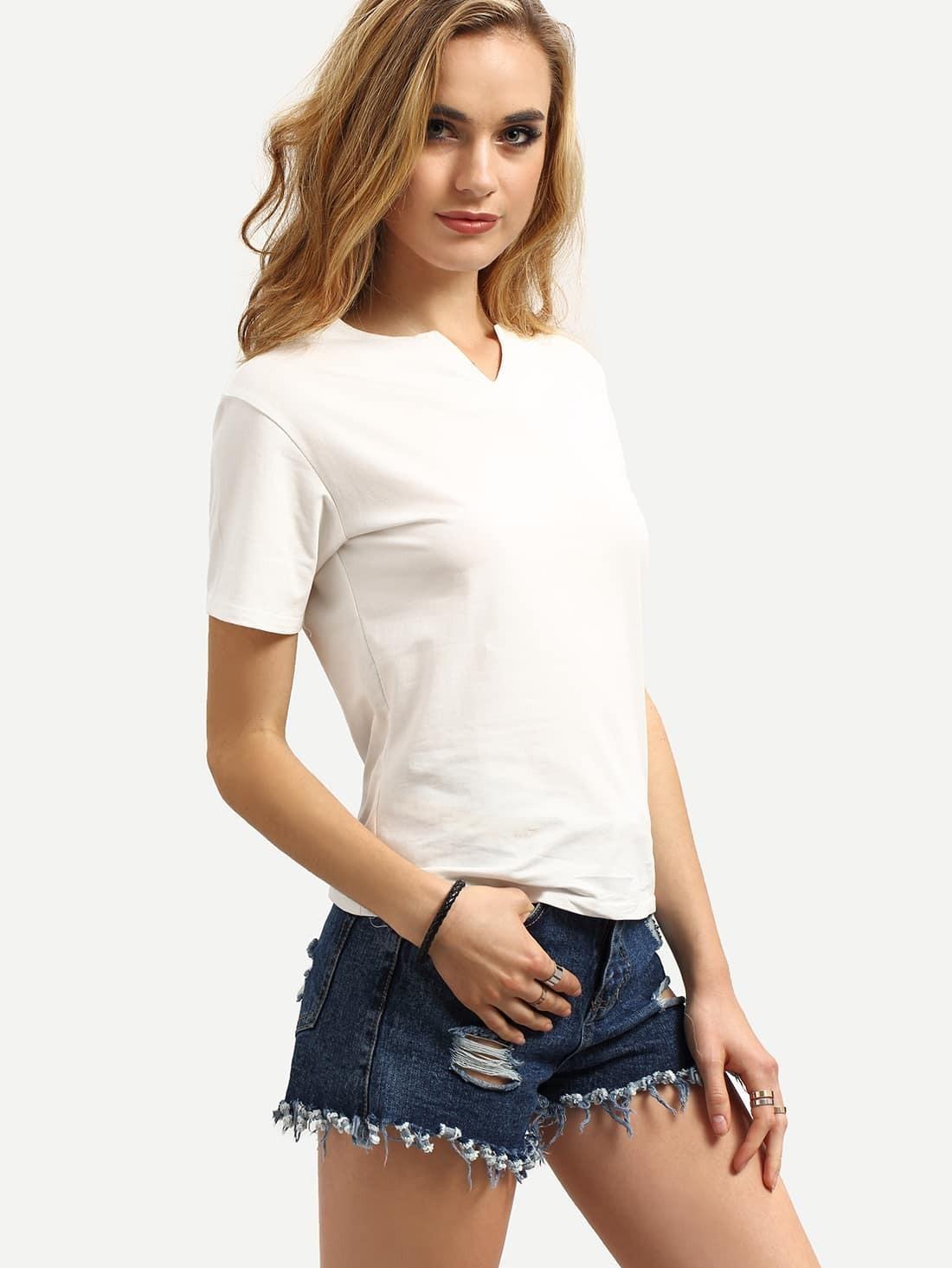 V cut neck plain t shirt shein sheinside for Plain t shirt model