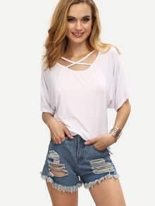 Crisscross Neck T-shirt - White