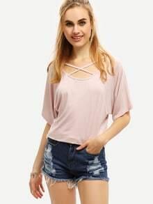Crisscross Neck T-shirt - Pink