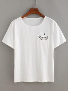 Smiley Face Embroidered T-shirt