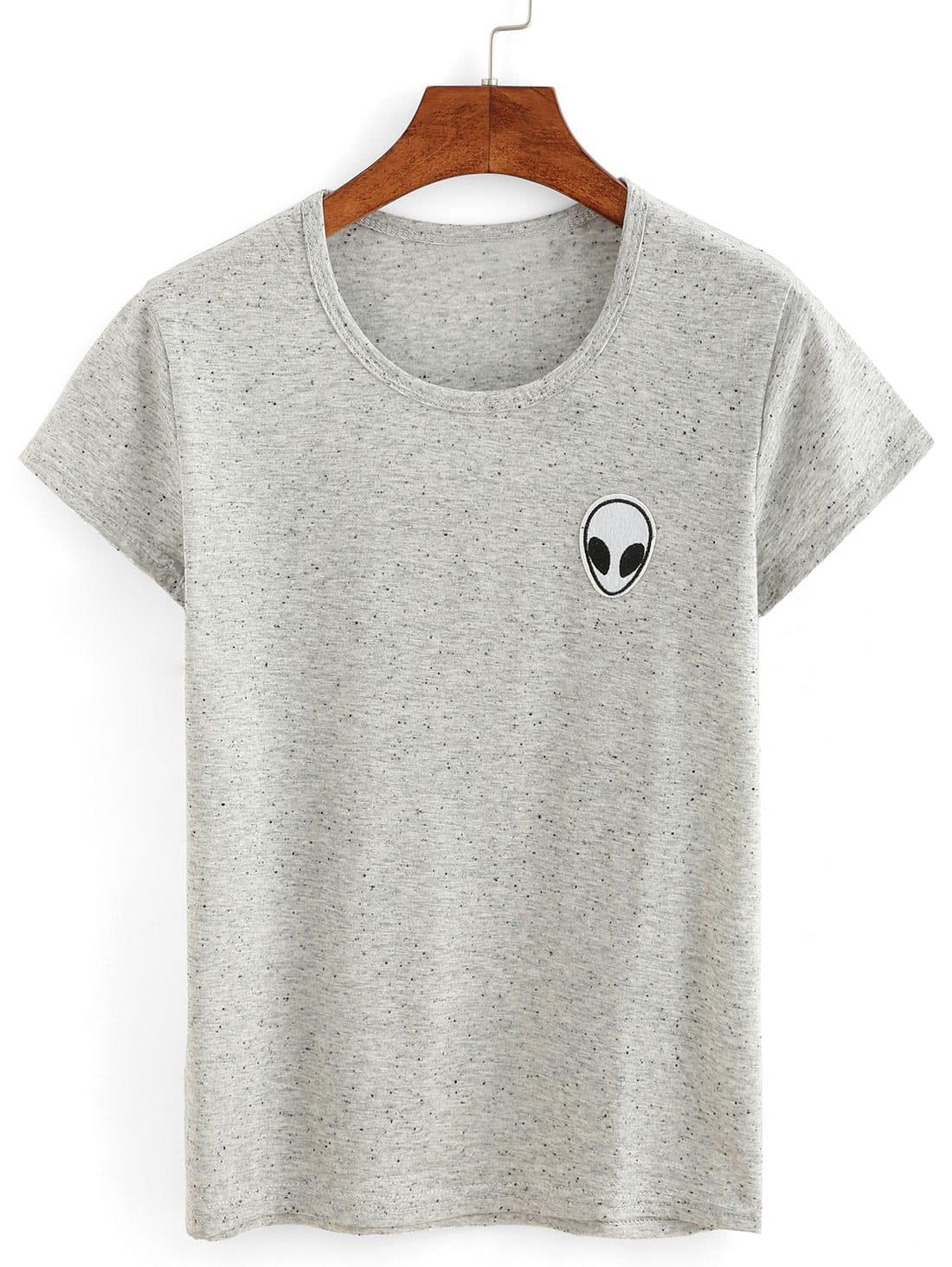 Alien embroidery patch slub t shirt shein sheinside
