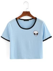 Blue Crew Neck Alien Print Crop T-Shirt