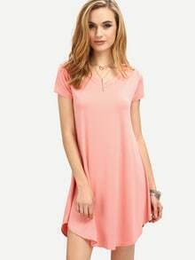 V-Neck Curved Hem Swing Dress - Pink