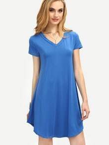 V-Neck Curved Hem Swing Dress - Blue