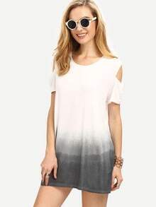 Open Shoulder Grey Ombre Shift Dress