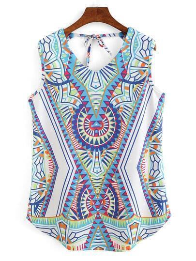 Tribal Print Keyhole Tie-Back Dress