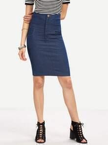 Cutout Crisscross Back High Waist Denim Skirt