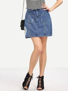 Ripped A-Line Denim Skirt