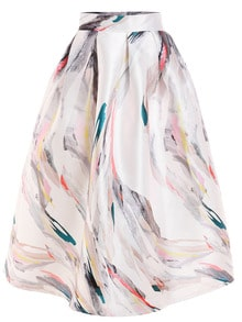 Abstract Painting Print Box Pleated Midi Skirt