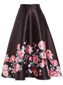 Rose Print Flare Midi Skirt