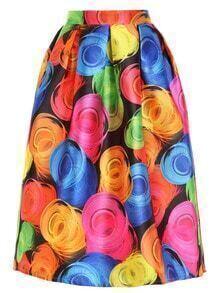 Abstract Circles Print Box Pleated Midi Skirt
