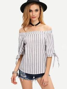 Off-The-Shoulder Vertical Striped Top