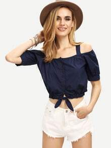 Buttoned Front Cold Shoulder Crop Top