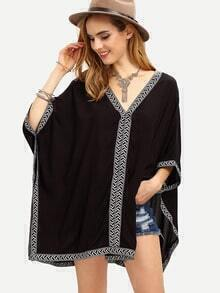 Chevron Woven Tape Trimmed Poncho Blouse