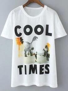 White Short Sleeve Letters Dinosaur Print T-shirt