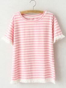 Pink Short Sleeve Fringe Stripe T-shirt
