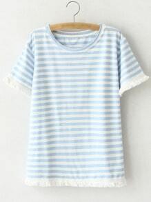 Blue Short Sleeve Fringe Stripe T-shirt