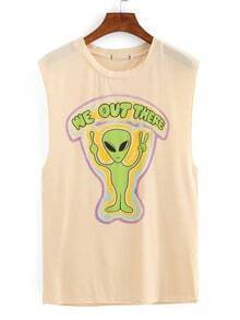 Alien Print Drop Armhole Sleeveless Top