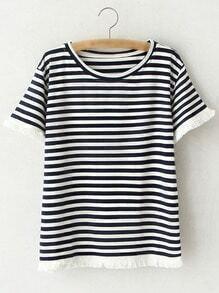 Black Short Sleeve Fringe Stripe T-shirt