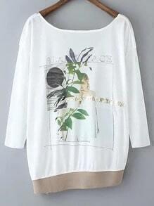 White Oblique Hem Cut Out Backless Print T-shirt