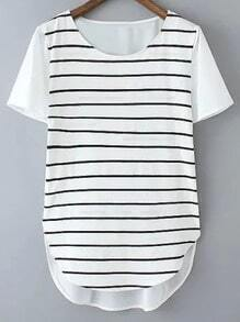 Black White Dolphin Hem Snap Closure Side Stripe Blouse