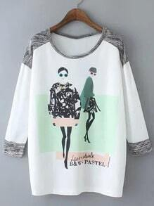 Multicolor Round Neck Diamonds Figures Letters Print Blouse