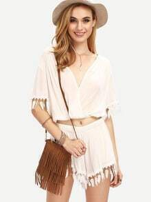 Leaf Fringe Trimmed Draped Surplice Top With Shorts