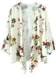 Multicolor Long Sleeve Birds Print Cardigan Kimono