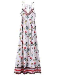 Multicolor Zipper Back Floral Spaghetti Strap Maxi Dress