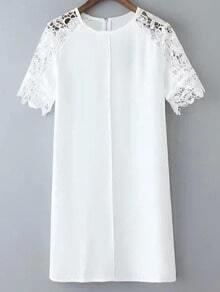 White Shoulder Lace Zipper Back Short Sleeve Shift Dress