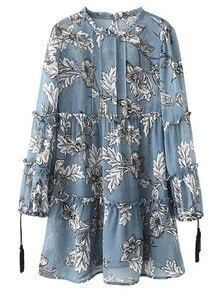 Blue Ruffle Neck Tassel Lantern Sleeve Print Dress