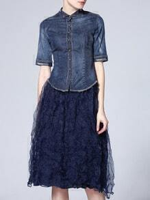 Blue Denim Top With Gauze Skirt