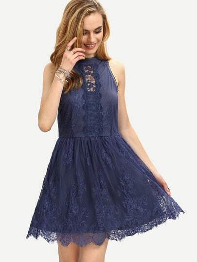 Halter Neck Lace Skater Dress