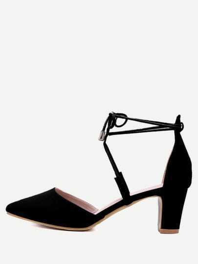 Black Faux Suede Pointed Out Strappy Pumps