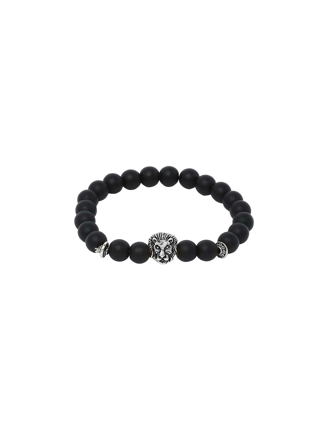 Obsidian With Silver Lionhead Polished BraceletObsidian With Silver Lionhead Polished Bracelet<br><br>color: Black<br>size: None