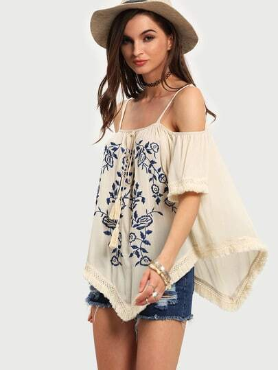 Apricot Cold Shoulder Embroidered Tassel Blouse