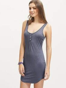 Grey Sleeveless Bottons U Neck Dress