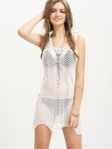 White Sleeveless Wave Striped Dress