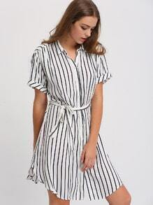 Black White Striped Bottons Tie Waist Shirt Dress