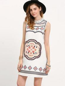 Multicolor Sleeveless Vintage Print Dress