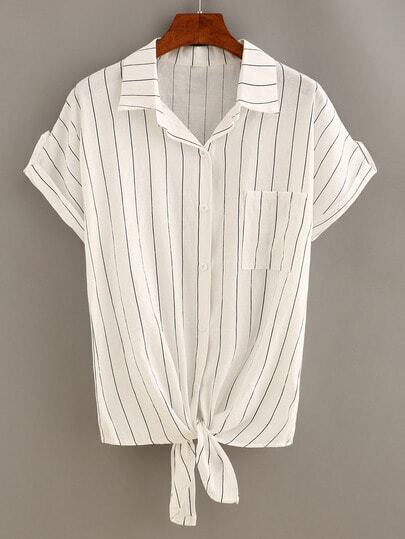 Vertical Striped Knot-Front Blouse