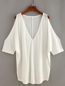 V-Neck Open Shoulder Loose Fit Top