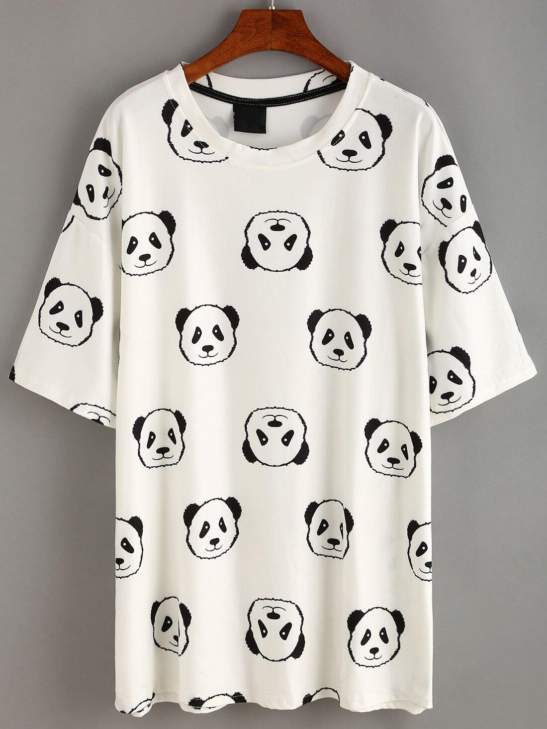 White Panda Print T Shirt Dress Shein Sheinside